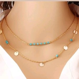 Turquoise coin charm double layer choker